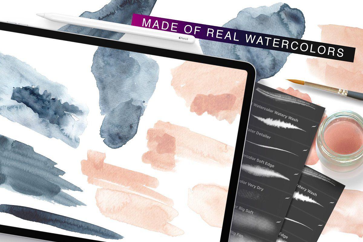 Ad Procreate 5 Watercolor Brush Bundle By Radekbroz On