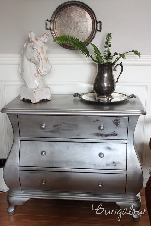 Silver Painted Bombe Chest With Krylon Metallic And Annie Sloan Clear Wax Painted Furniture