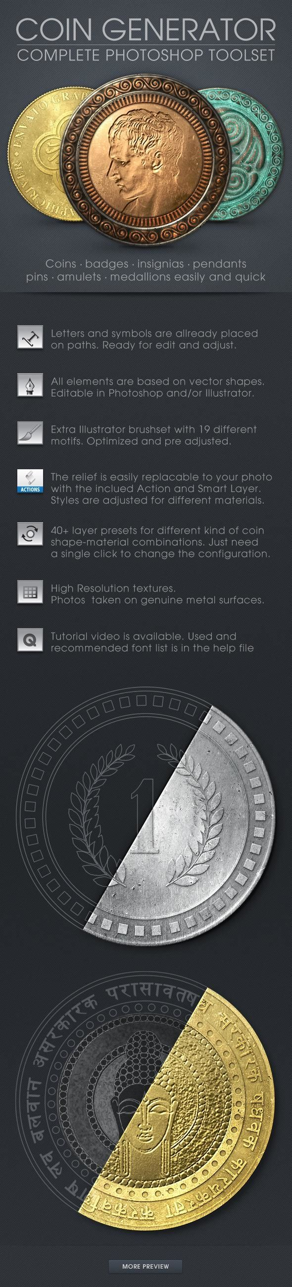 Coin Generator - GraphicRiver #photoshop #Actions #PhotoshopActions