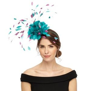 Star by Julien Macdonald Turquoise two tone feather fascinator ... 5aab426f05e