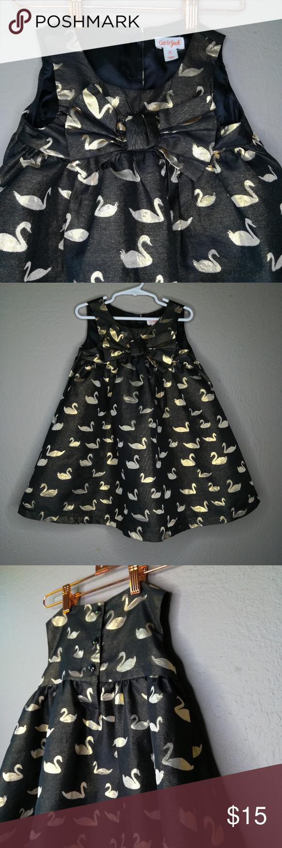 Gold Swan Black Cat Jack 4t Party Dress Metallic Gold And Black Dress Little Dresses Party Dress [ 1740 x 580 Pixel ]
