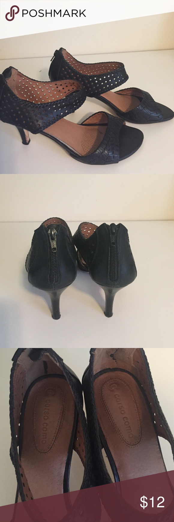 Corsica convo sandals Black with zippered back Corso Como Shoes Sandals
