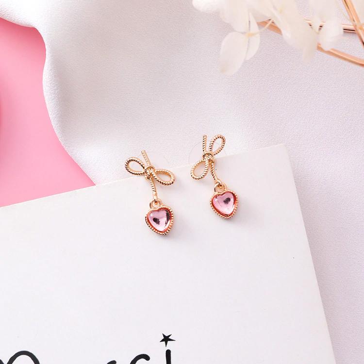 14k Rose Gold Flower Earrings Stud Earrings Unique Earrings Rose Gold Earrings Fine Jewelry Ideas Bridal Earrings Drop Flower Earrings Studs Heart Drop Earrings