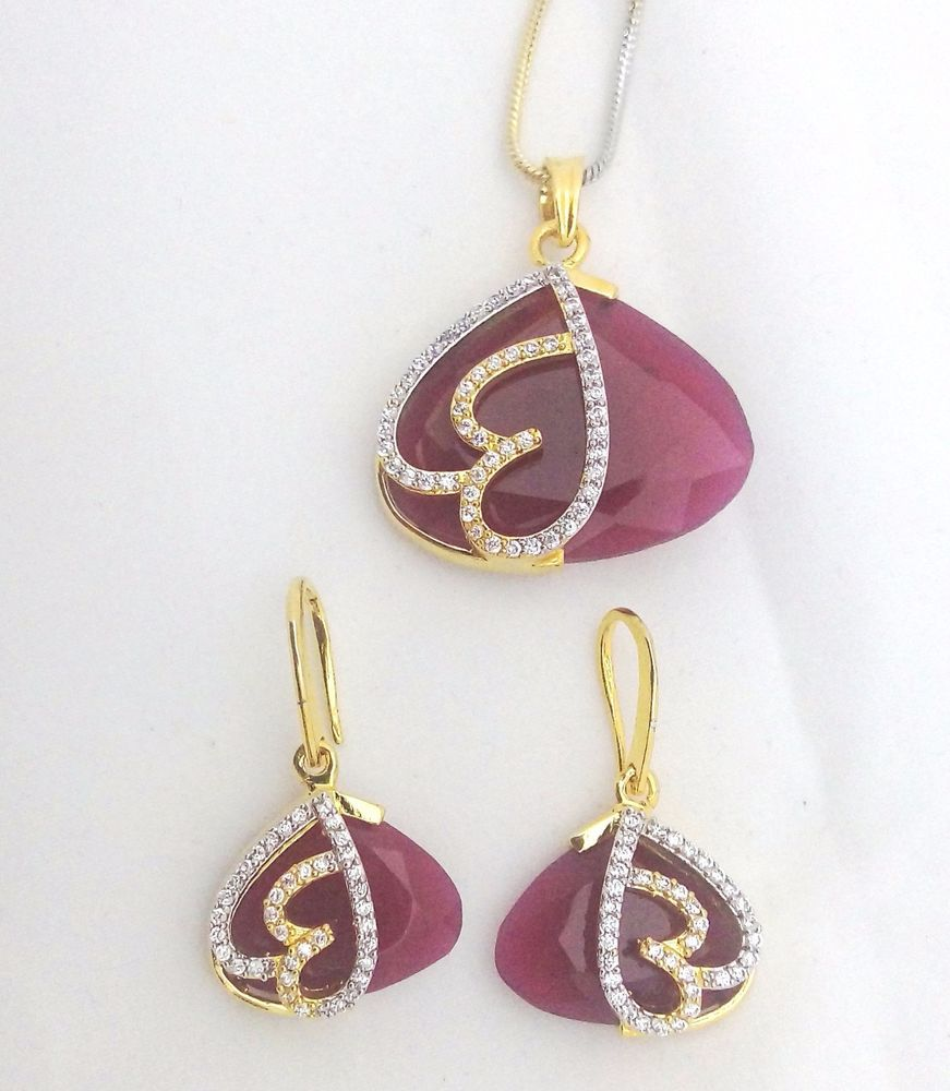 Indian bollywood cz ruby pink designer pendant earrings pc jewelry