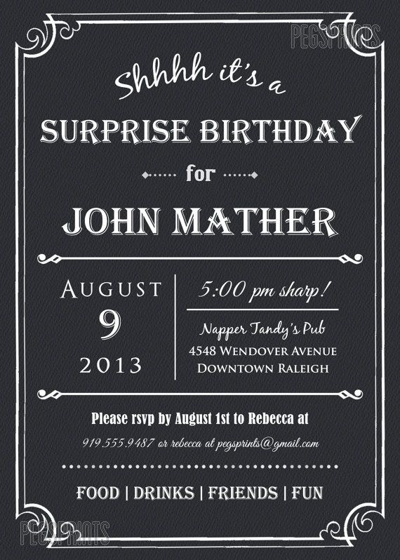 I Design You Print If Are Throwing A Surprise Birthday Party Then Give Your Guests Treat With This Black