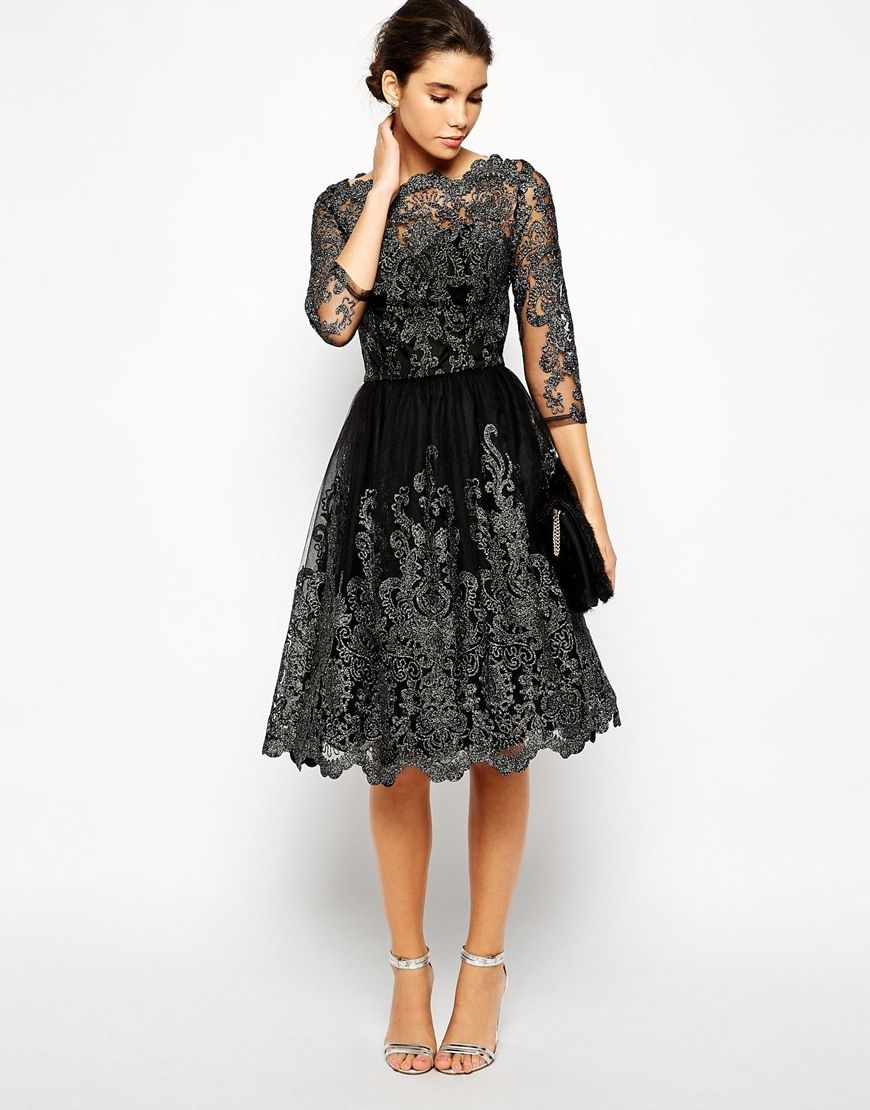 Image 4 of Chi Chi London Premium Metallic Lace Midi Prom Dress with Bardot  Neck cfb888a91add