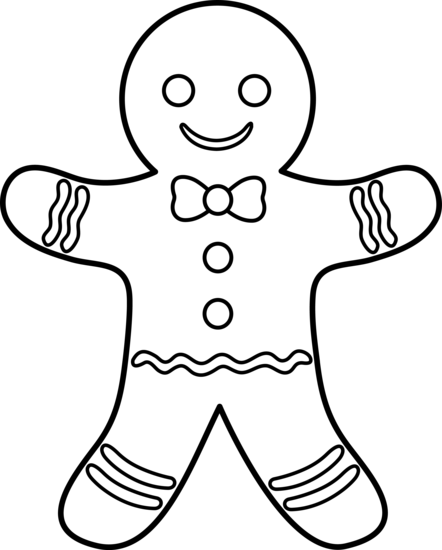 Gingerbread Man Outline Coloring Page Navidad Pages Yooall Wallpaper