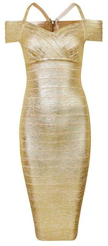 b3731603813a Emilia  Metallic Bandage Dress-Gold