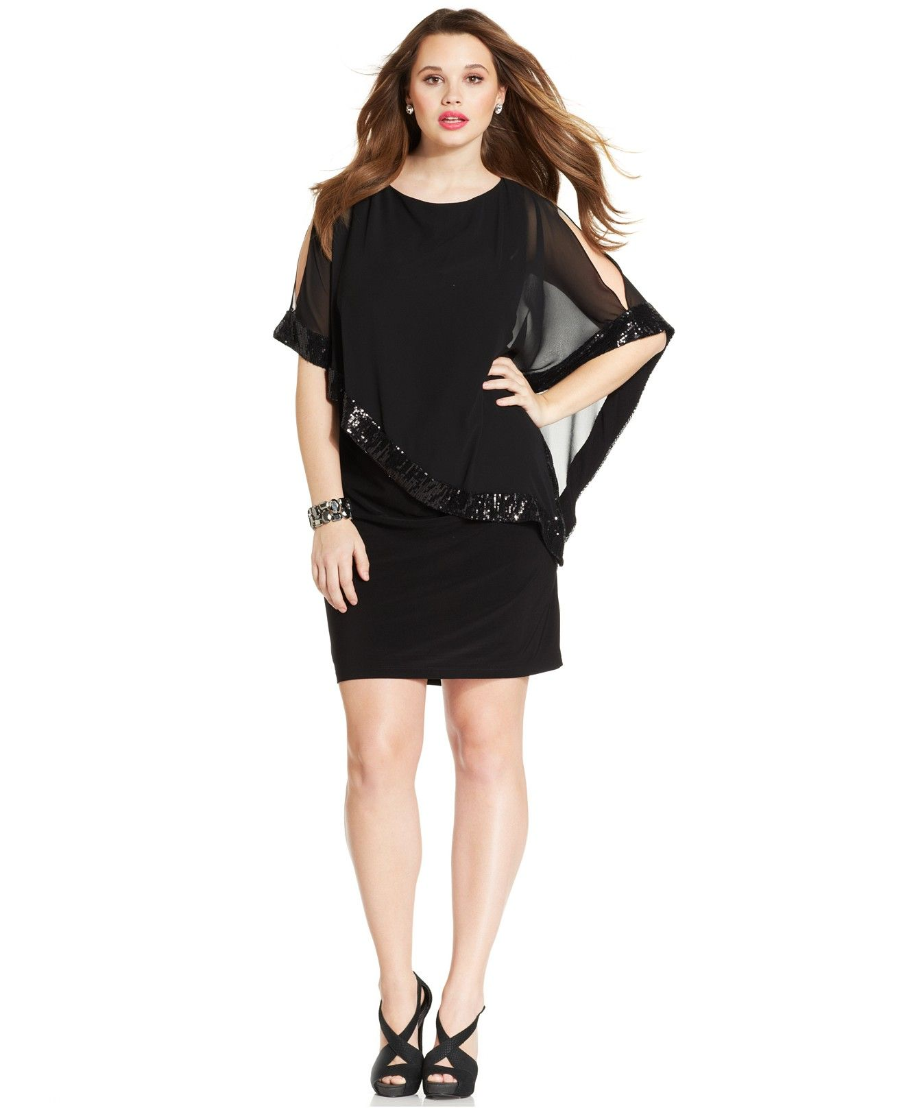 Xscape Plus Size Sequin-Trim Capelet Dress - Dresses - Plus Sizes ...