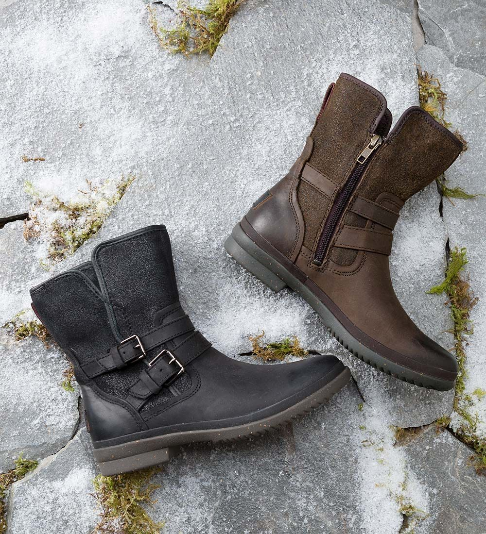 10a49d01d1a059 The UGG Simmens Boot for women is a handsome waterproof boot with metal  buckle details. Full-grain leather upper with a suede shaft has been sealed  at the ...