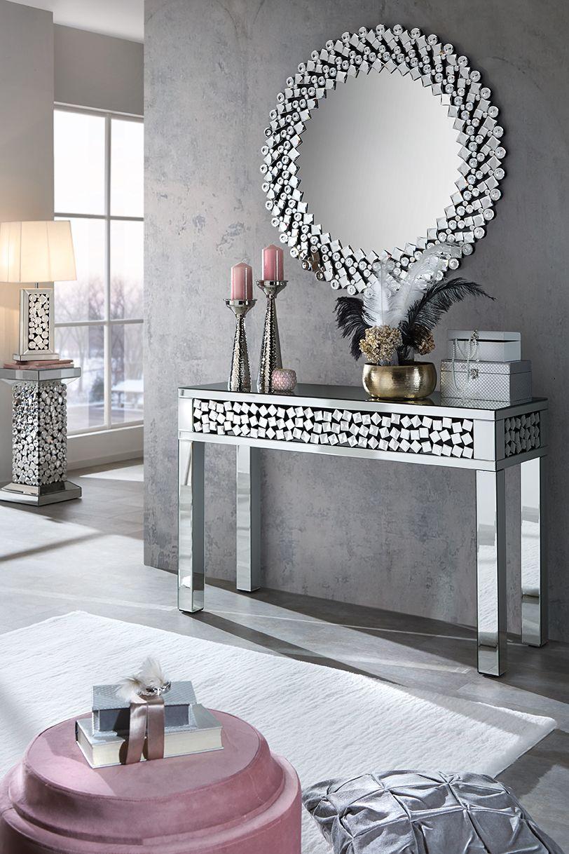 Schminktisch Und Wandspiegel Mit Glas Kristallen In Silber Entryway Wall Decor Entryway Table Decor Chic Bathroom Decor