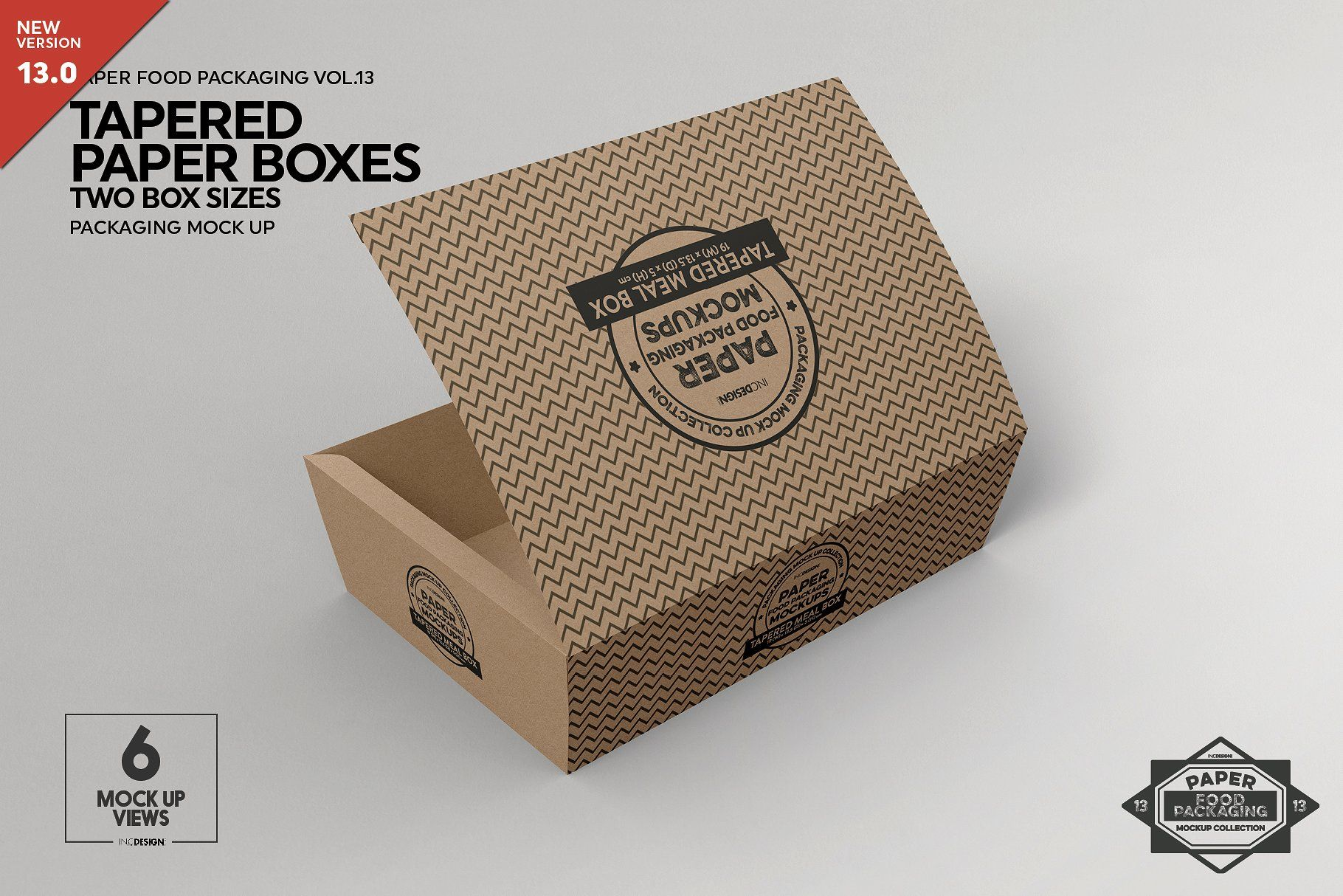 Download Paper Tapered Takeout Boxes Mockup Desain Kemasan Kardus Desain