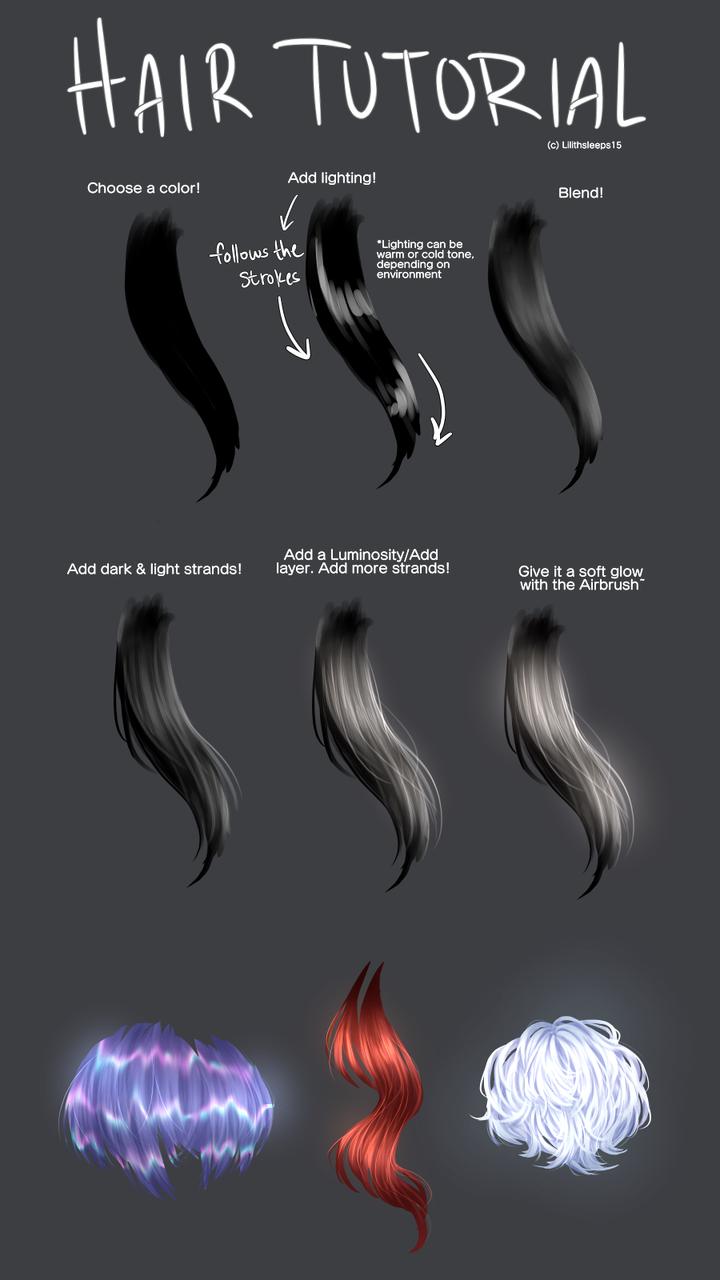 Hair Tutorial Lilithsleeps15 Illustrations Medibang Digital Art Tutorial Digital Painting Tutorials Drawing Tips