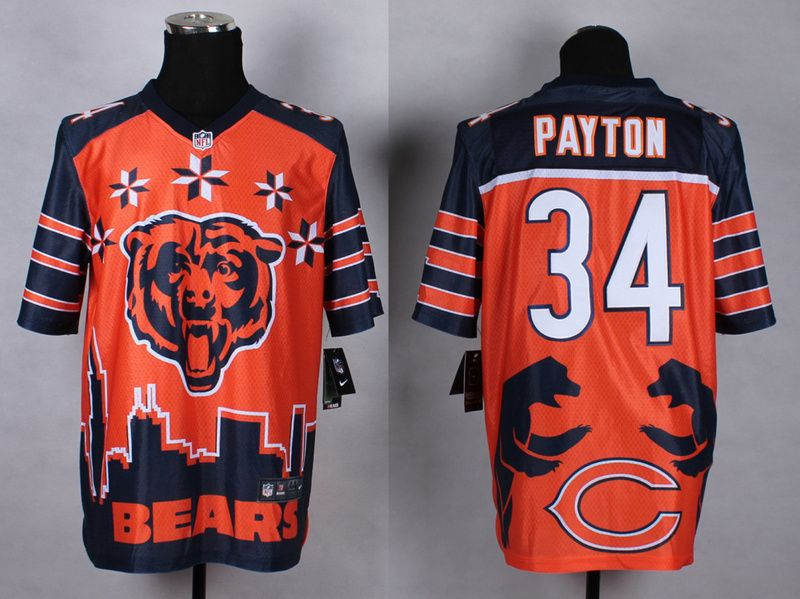 2015 new style noble fashion elite jerseys chicago bears 34 payton orange jerseys