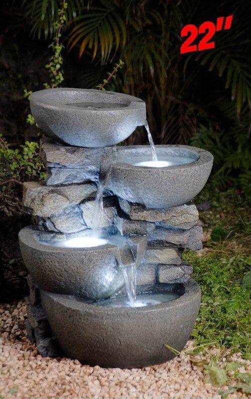 Outdoor Water Fountain With Led Light Garden Cascade