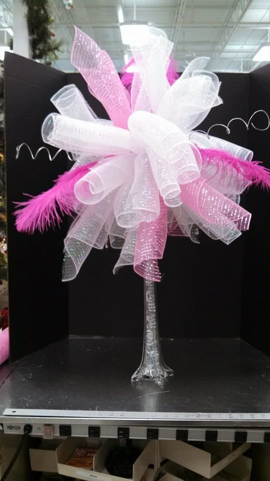 Custom centerpieces mesh feathers silver twirls in