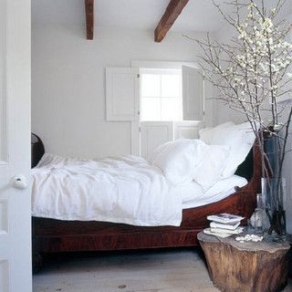 Tricia Foley {white rustic bedroom} by recent settlers, via Flickr