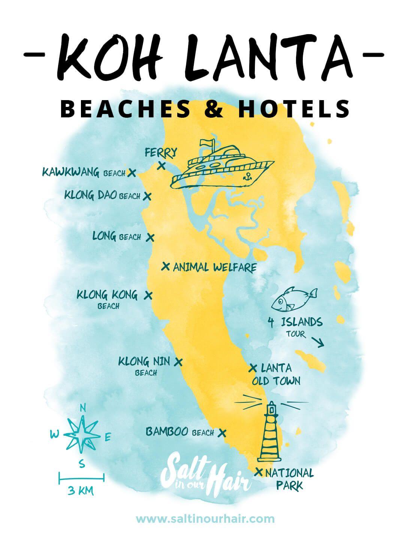 KOH LANTA BEACHES Island tour, Railay beach, Beach hotels