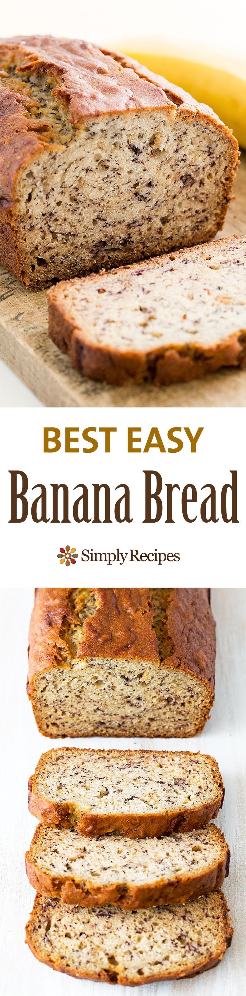 Easiest banana bread ever! No need for a mixer! Delicious and easy, classic banana bread recipe. Most popular recipe on SimplyRecipes.com Perfect for #MothersDay!
