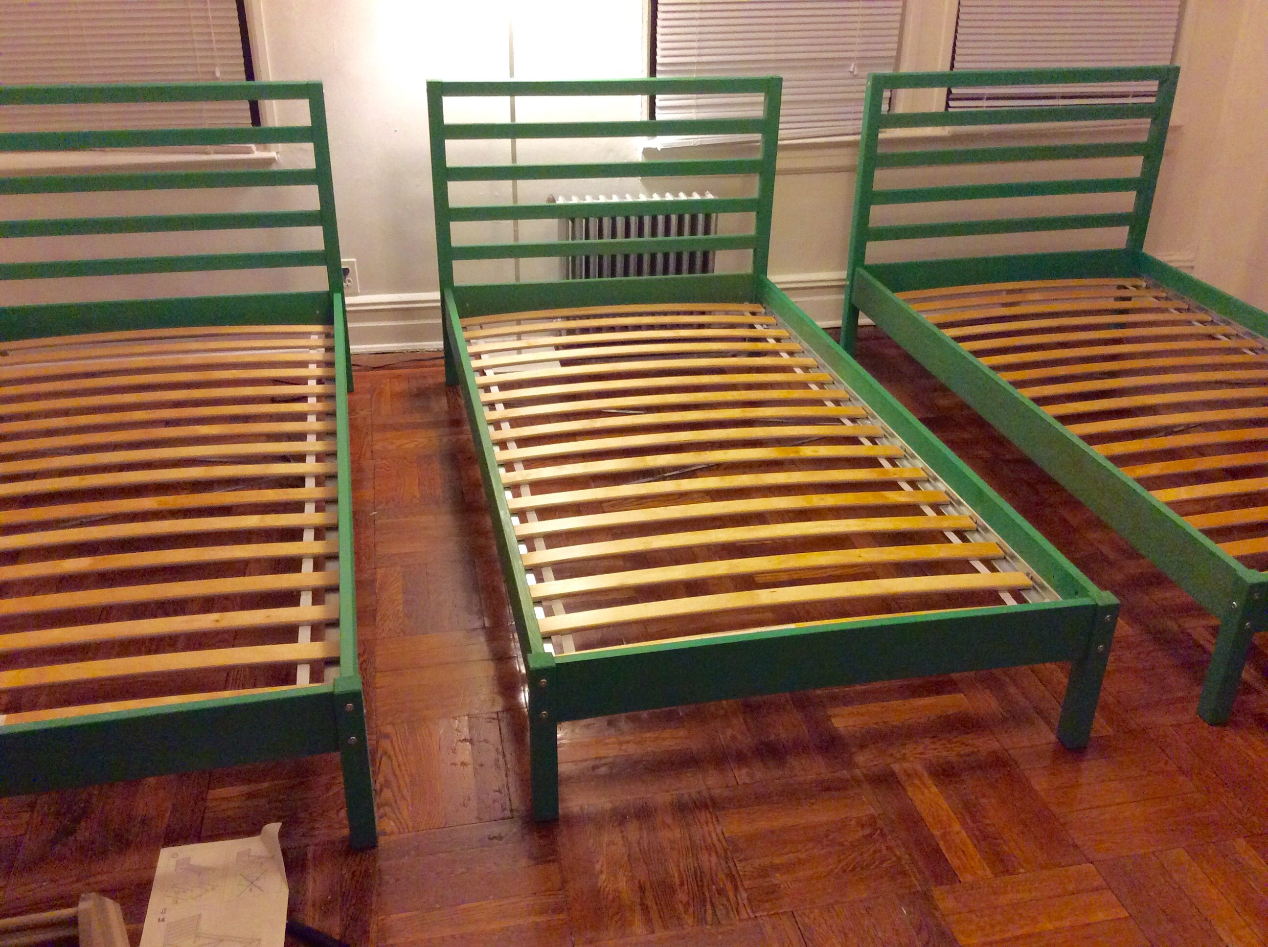 IKEA tarva bed stained green Home decor Pinterest