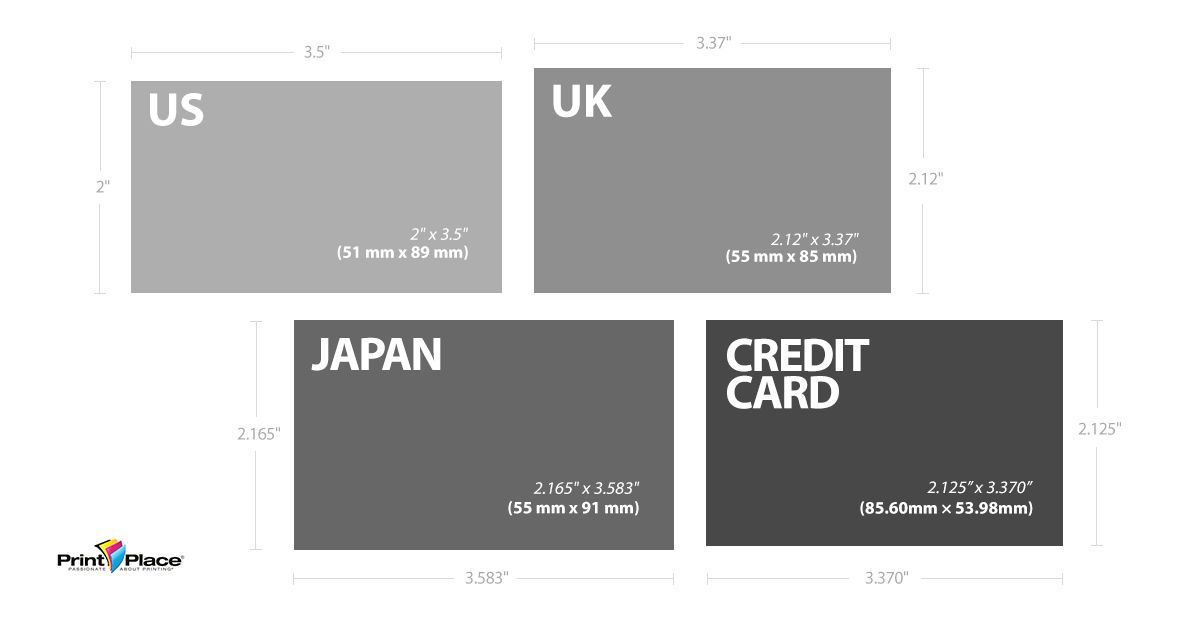 Japanese And Uk Standard Business Cards And Credit Cards For Comparison Standard Business Card Size Photo Business Cards Business Card Dimensions