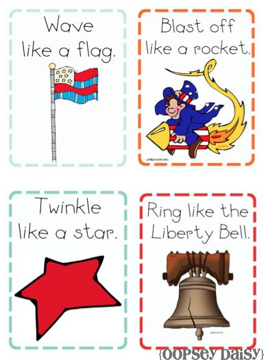 """""""U is for USA Mommy School Packet"""" to download for free from Oopsey Daisy - aimed at 2-3 year olds but several ideas work for most ages.  I like these """"Patriotic Action Cards."""""""