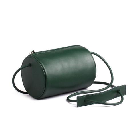 Cylinder Sling Leather Bag-Green #fashionbag #leather #trendybag #bag