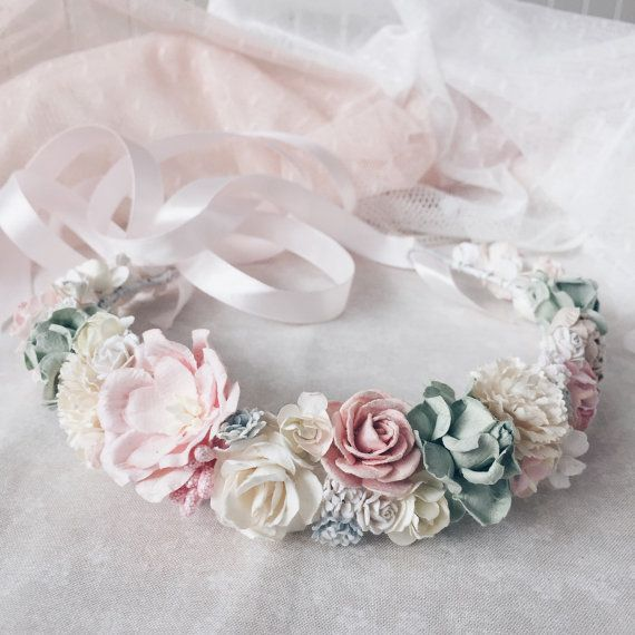 Bridal flower crownFloral crown Wedding flower by SERENlTY on Etsy