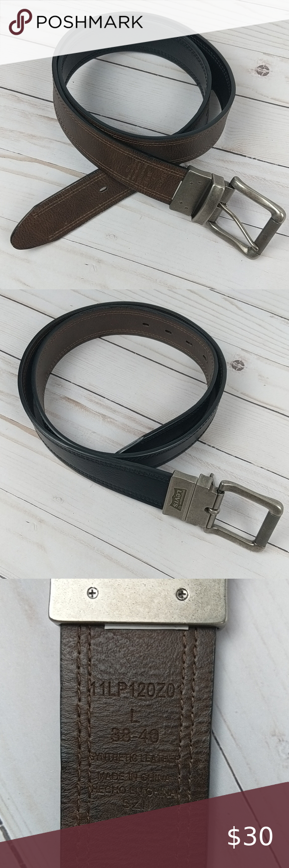 "Levi's Reversible Brown Black Belt Size L 38-40 Men's reversible brown and black synthetic leather belt.  Size 38/40.  Total Length: 47"" Shortest Hole: 38"" Longest Hole: 44"" Width: 1.5""  A0509 Levi's Accessories Belts"