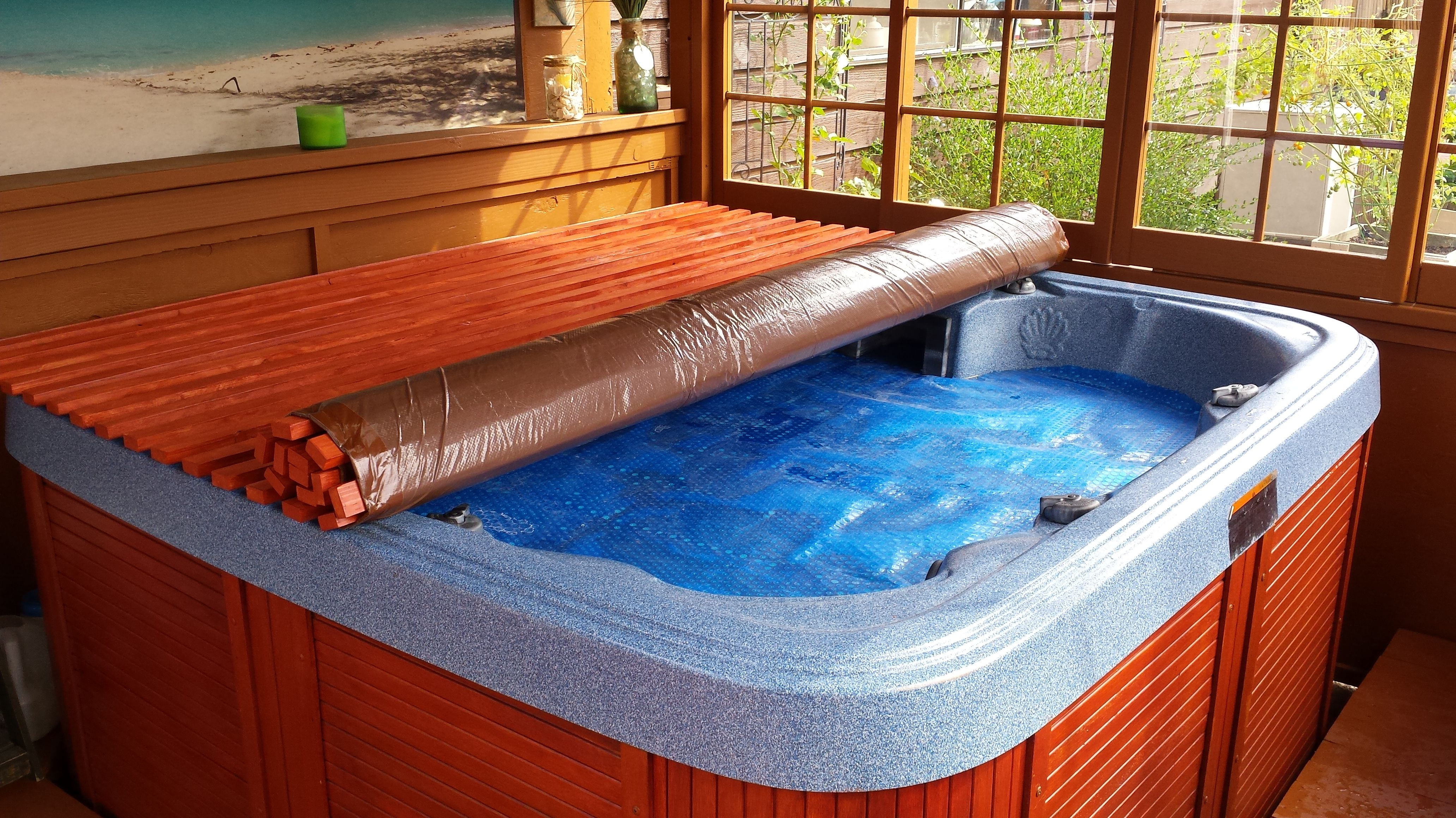 Jacuzzi Pool Covers Diy Hot Tub Cover Around The House Hot Tub Backyard Hot Tub