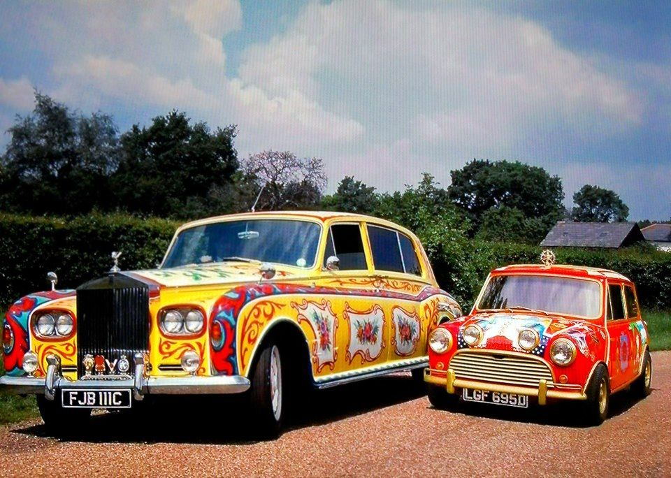 John Lennon's Rolls-Royce and George Harrison's mini ~ painted by the fool