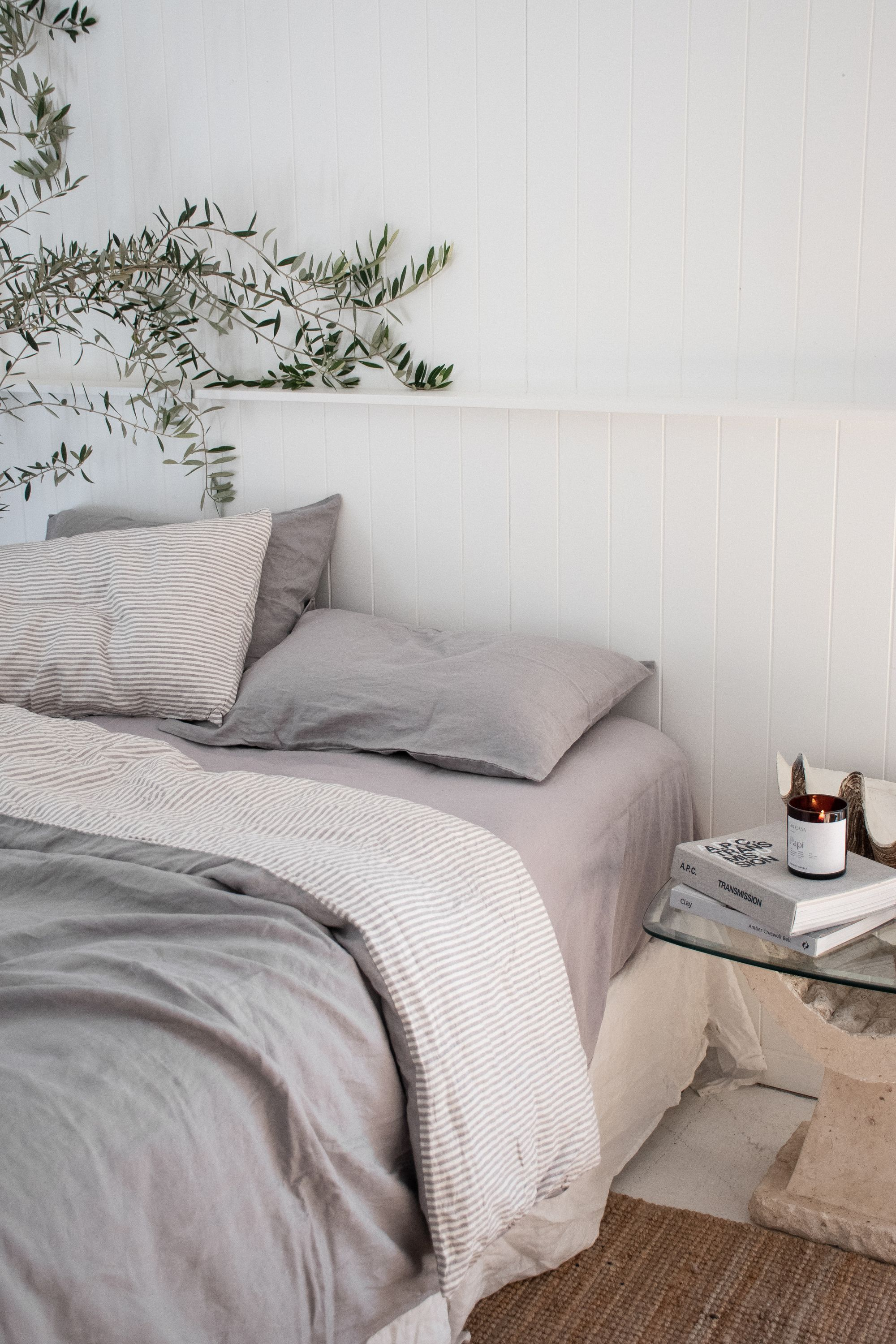 Pure Linen Sheets Bedding I Love Linen French Linen Bedding In Soft Grey Soft Grey Stripe Beautiful Ho Bed Linens Luxury Bed Linen Design Bed Styling