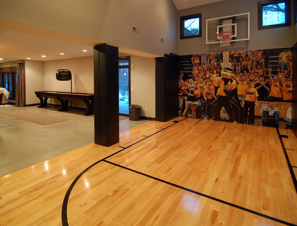 indoor-basketball-court-cost-Home-Gym-Contemporary-with-basketball ...