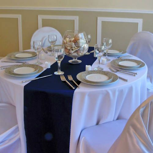Navy Blue Table Runners But Should The Chairs Be White Or