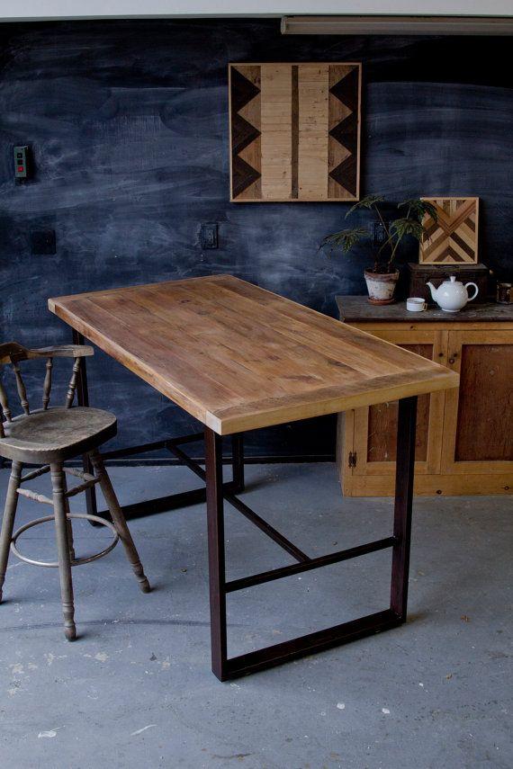 Delightful Rustic Modern Minimalist Reclaimed Barn Wood Pub Table Hightop Bar  Farmhouse Breadboard End Metal Steel Base