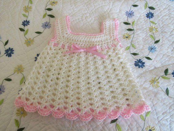 3736d8f43062 Crochet Baby Girl Dress - Crocheted White and Pink Baby Dress - Crocheted  Newborn Easter Dress - Siz