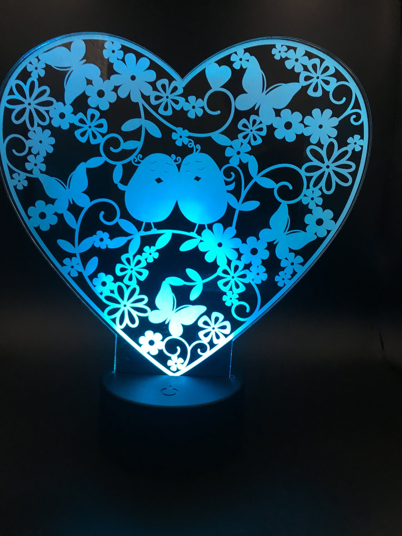 Lamp Night Light 3d Lamp Illusion Lamp 3d Led Desk Lamp Happy Etsy Led Desk Lamp Lamp Night Light