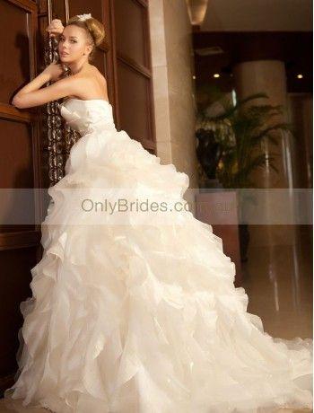 Taffeta Strapless Neckline A-Line Style with Lavish Ruffle Skirt Wedding Dress WD-3447 - 01.Wedding Dresses - OnlyBrides.com.au