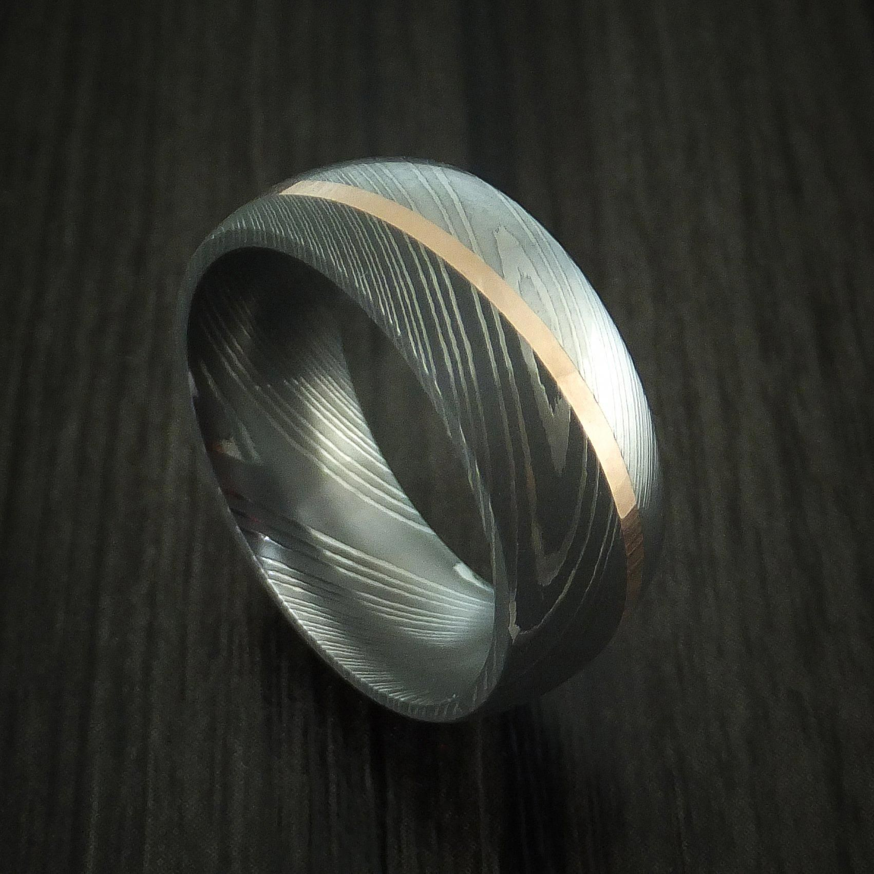 Damascus steel diagonal 14k rose gold ring wedding band