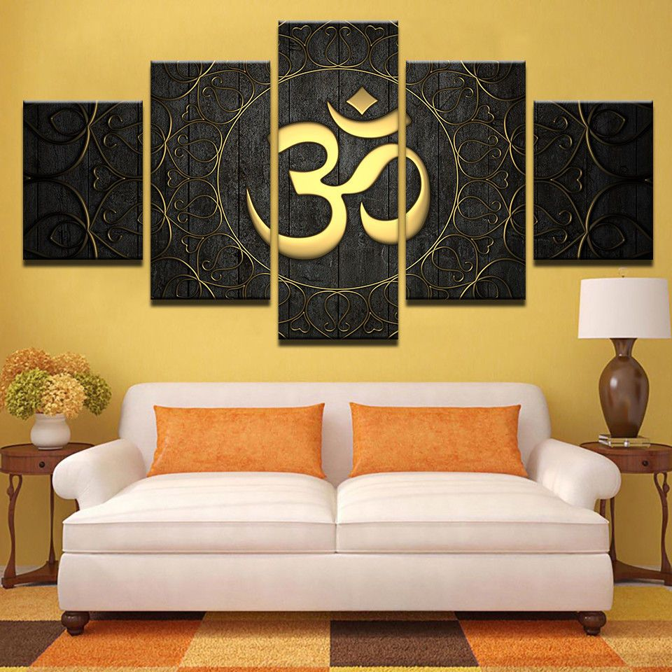 OM Yoga Golden Symbol Poster - 5 Panel Canvas Painting Wall Art Home ...