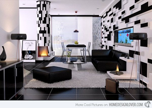 20 Modern Contemporary Black and White Living Rooms White living