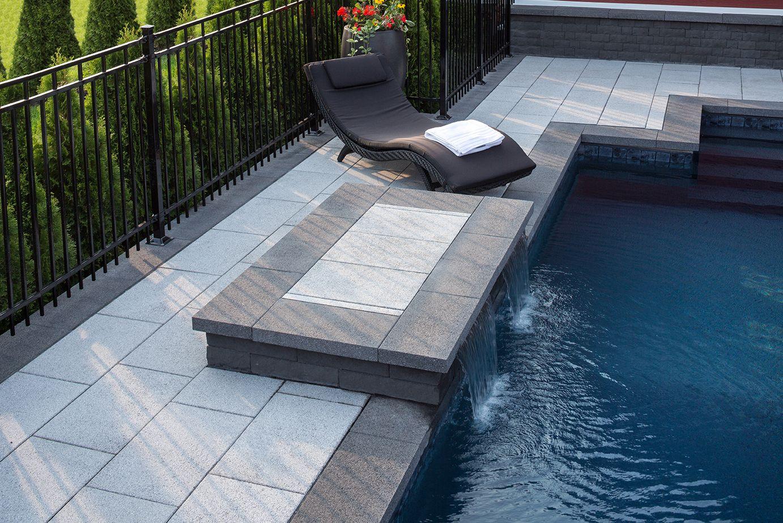 dalle prestige gris granite et couronnement prestige droit anthracite super pour la piscine. Black Bedroom Furniture Sets. Home Design Ideas