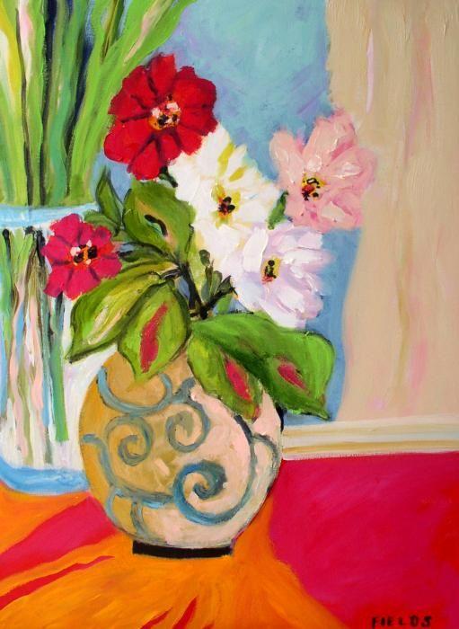 Flowers In Vases By Karen Fields Flowers In Vase Painting