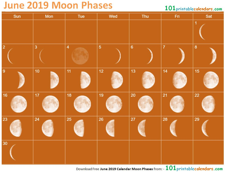 June Calendar Moon Phases