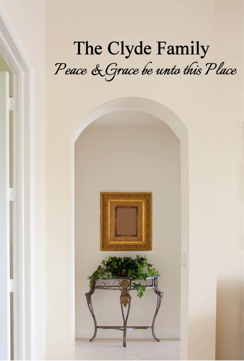 Personalized Family Name Peace And Grace Be Unto This Place - Personalized vinyl wall art decals