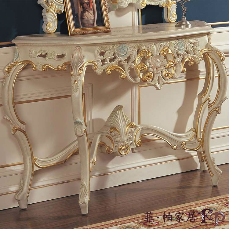 Lujo cl sico muebles de madera soild hoja de oro hoja for Muebles estilo italiano