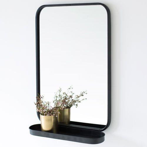 Miroir avec tag re en m tal noir bords arrondis decoclico for Miroir etagere