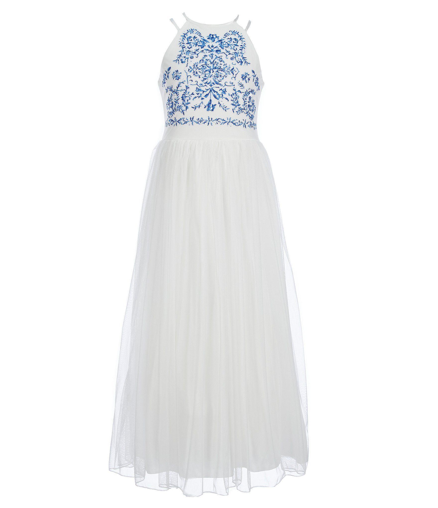 657cee5a00ab Xtraordinary Big Girls 716 DoubleStrap Embroidered Bodice Long Dress  #Dillards