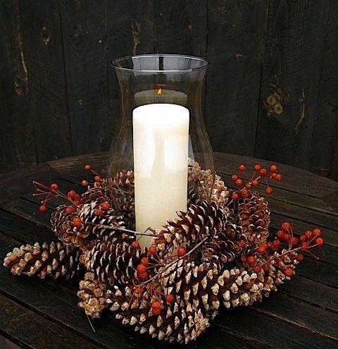 10 Ideas Of Pine Cones And Candles Arrangements Shelterness Christmas Centerpieces Candle Arrangements Pine Cone Decorations