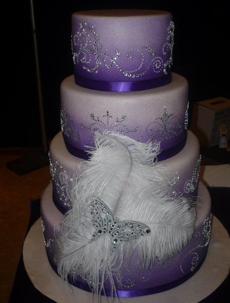 Plum And Silver Wedding Cakes